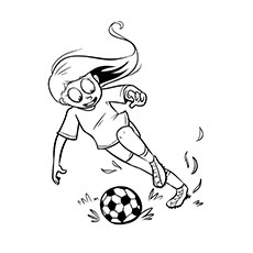 Girl Playing with a Soccer Ball Coloring Sheet