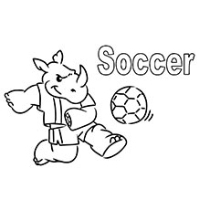 Rhino Playing with Soccer Ball Coloring Pages