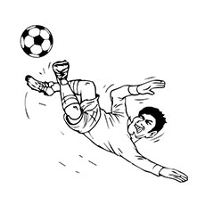 Soccer Player Kicking the Ball Coloring Pages