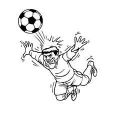 Serious Soccer Player Hit the Ball with Head