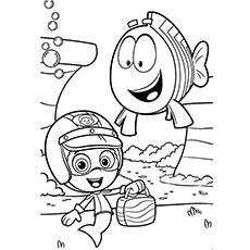 Bubble Guppies Gil and Fish to Color Free