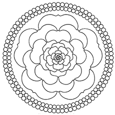 Mandala Design Rose Printable Coloring Page