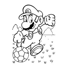 mario super sluggers rhino playing with soccer ball coloring pages