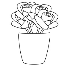 coloring sheet of rose vase to print - Rose Coloring Pages