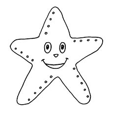 a smiling starfish three different starfish coloring page - Starfish Coloring Pages