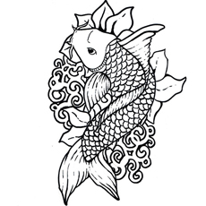 aerial view koi fish - Fish Coloring Pages For Adults