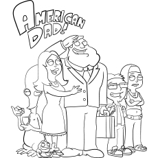 American Dad Cartoon Coloring Sheet to Print