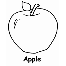 single apple printable coloring pages - Apple Coloring