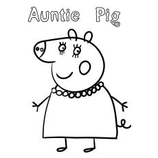 Auntie Pig Coloring Page Free Printable