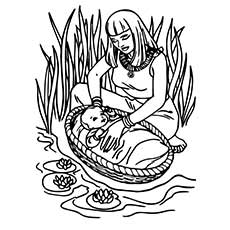 Baby Moses Was Found In Basket And Brought To The Castle From Nile River Coloring Page