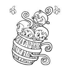 Barrel Onkeys Babys Baboons Monkey Coloring Pages