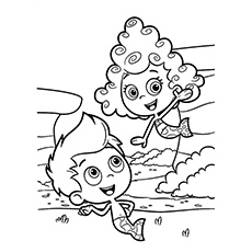 Happy Couple of Bubble Guppies Coloring Page