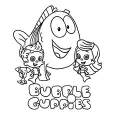 Bubble Guppies Laufing Coloring Page