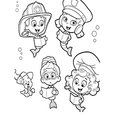 bubble guppies study gil has bottle in hand coloring page