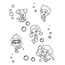 Coloring Page of Bubulle Guppies with Puppy