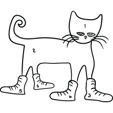 Pete Cat Wearing School Shoes to Color Printable
