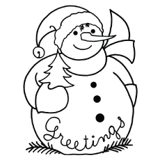 coloring page of sonwman during christmas season
