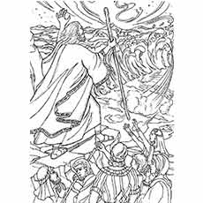 Moses Parts The Red Sea Sunday School Coloring Page