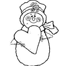 coloring sheets of snowman with heart holding - Color Pages Online