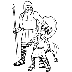 David and Goliath B and W Coloring Pages