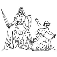 David and Goliath Fighting Story Coloring Page
