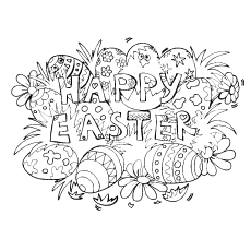 Easter Background With Easter Eggs Coloring Page to Print Free