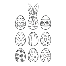Attractive Nine Easter Eggs Coloring Pages Free