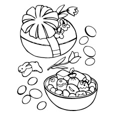 Coloring Page of Easter Egg With Candies Inside