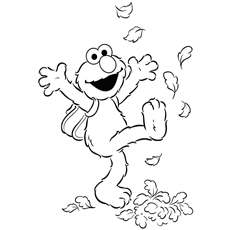 Elmo Enjoying the Fall Leaves Coloring Pages