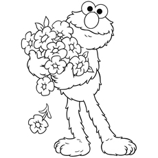 Elmo Collecting The Flowers Coloring Pages