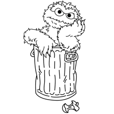 Elmo Inside the Dustbin and Thinking about Coloring Pages