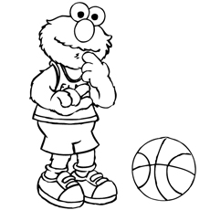 Elmo Playing Basket ball Coloring Pages
