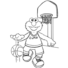 Elmo Playing Happily With Basketball Coloring Pages