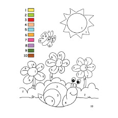 fill the colors numbers for preschooler to learn coloring sheet - Fill In Coloring Pages