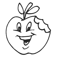 coloring pages of half eaten apple - Apples Coloring Pages