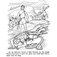 David Meet the War His Sling Coloring Pages