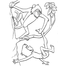 monkey and mowgli coloring pages