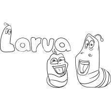 Free Printable Cartoon Larva Coloring Page for Kids