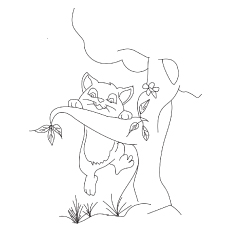 Lovely Kitty playing coloring pages