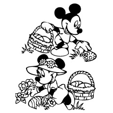 Mickey And Minnie Collecting Easter Eggs Printable Coloring Page