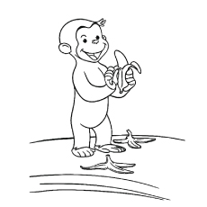 Monkey littering the way with banana peel coloring page
