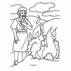 Moses Watching the bush that was Caught on Fire Coloring pages