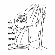 Moses With Ten Commandments Walking The 10 Coloring Sheet