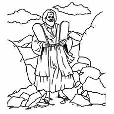 Moses Walking With The 10 Commandments Coloring Sheet