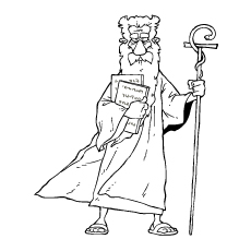 Moses with his staff and Ten Commandments Coloring Pages