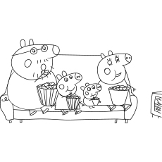 Peppa Family Eating Popcorn Coloring Page to Print