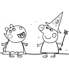 Peppa Pig Halloween Party coloring images