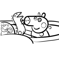 Peppa Pig and dinosaur coloring images print