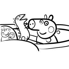 Peppa Pig and dinosaur coloring sheet to print