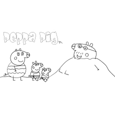 Coloring Page of Peppa Pig at Beach